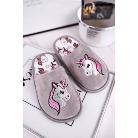 Children's Home Slippers Grey Unicorn
