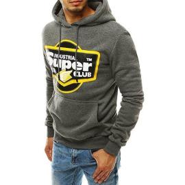 Dark gray men's sweatshirt with an imprint BX4544
