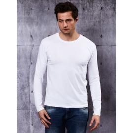 Gładka bluzka męska z długim rękawem biała